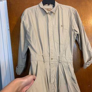 Vintage LIZ WEAR khaki shirt dress